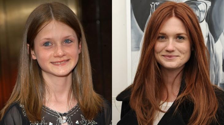 Fotografía de la comparación del antes y después de Bonnie Wright
