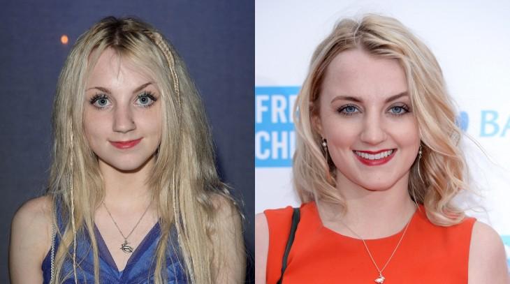 Evanna Lynch en una imagen con su antes y después