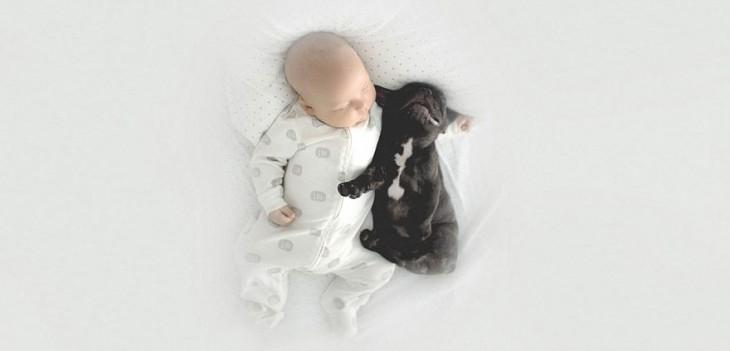 un niño a lado de su perro abrazados y dormidos en una cama
