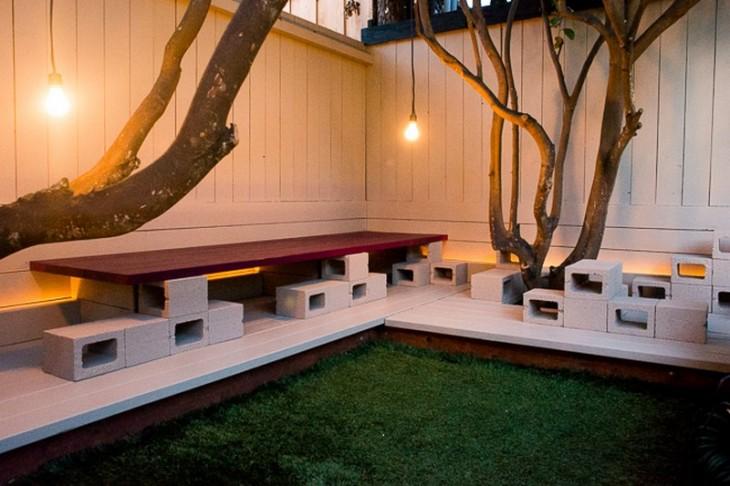 Bancas para jardín hechas con bloques de cemento