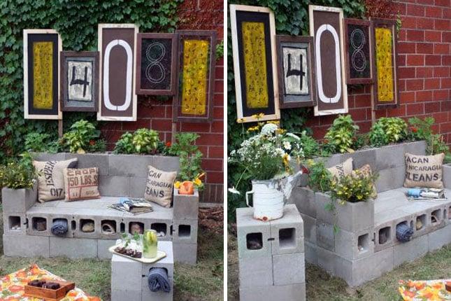 Muebldes para patio hechos con bloques de cemento