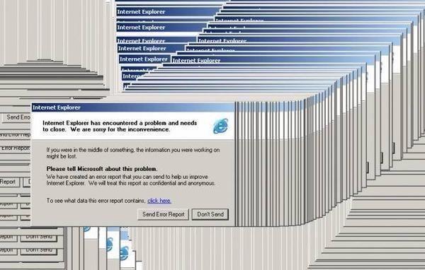 Ventanas emergentes de una computadora cuando el internet explorer deja de funcionar