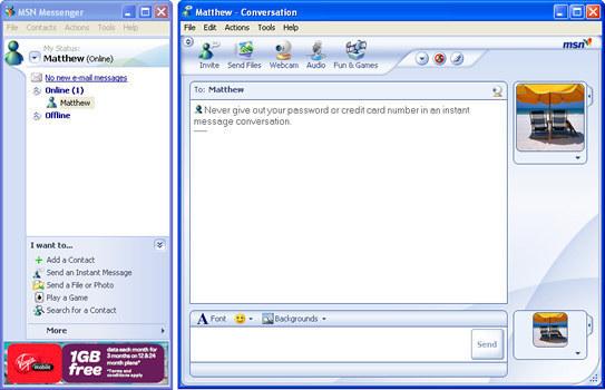 imagen con una ventana de messenger