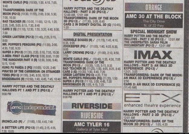Página de un periódico para conocer la cartelera del cine