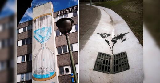 Las paredes de la ciudad sirven como lienzos de arte para dar mensajes importantes. Es por esto que el arte del grafiti y la calle son la combinación perfecta para la difusión de mensajes ecologistas o en pro del cambio climático.