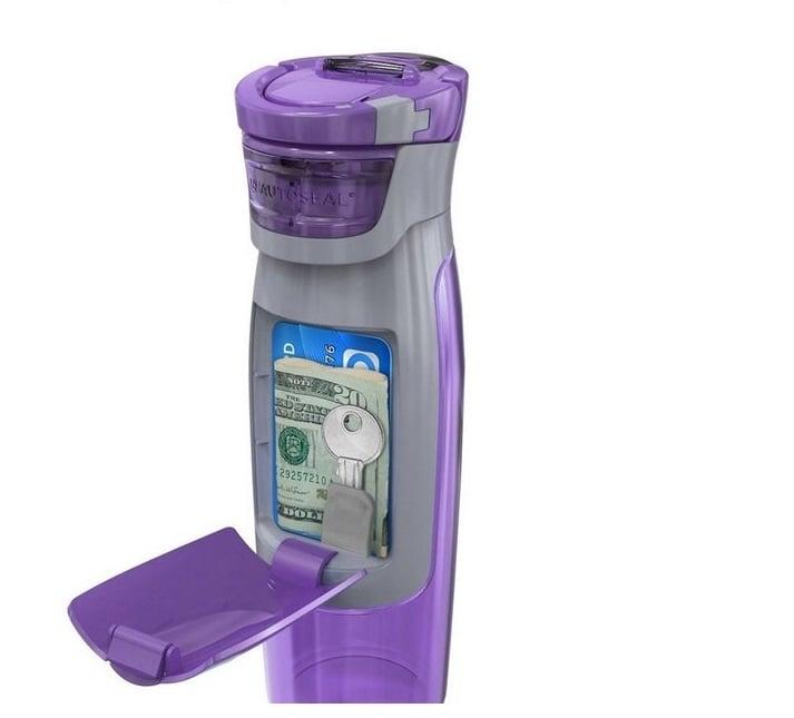 Botella con un compartimiento para el dinero, las llaves y la tarjeta de crédito