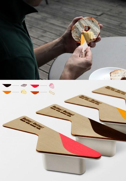 Tapas de mantequilla de colores que sirve como espátula