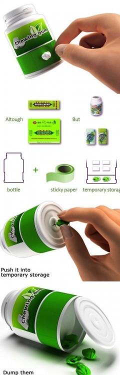 contenedor de chicles que permite guardar las gomas de mascar nuevas y usadas