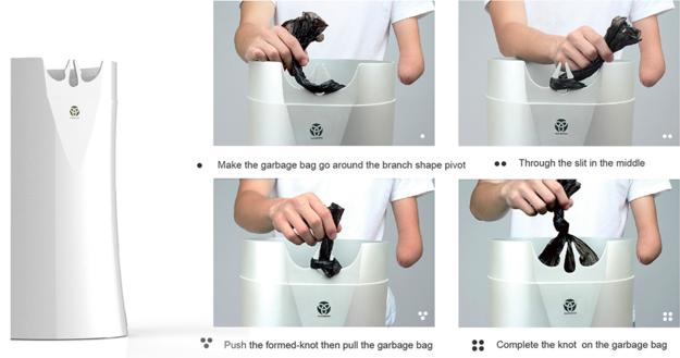 bote de basura que ayuda a hacer nudo con una sola mano