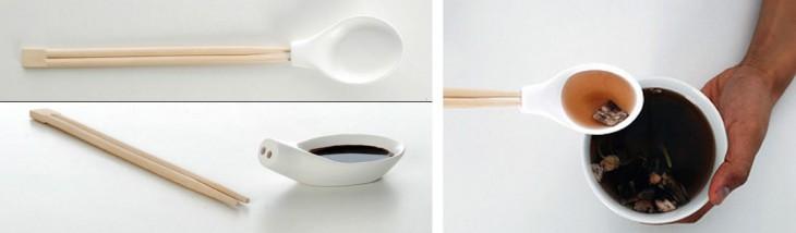 Cuchara con mango de palillos chinos