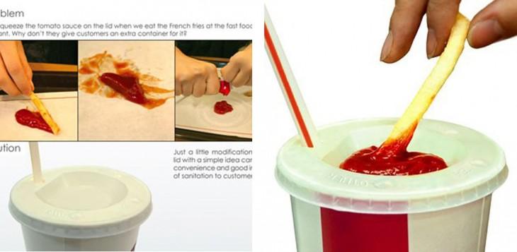 Tapa de refresco con un espacio especial para la ketchup
