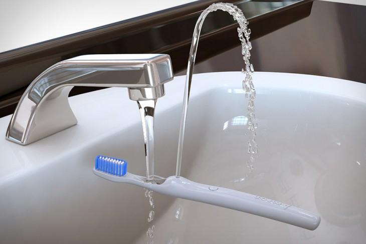 Cepillo de dientes que se convierte en una fuente para enjuagar tu boca