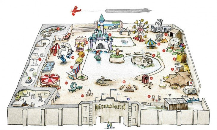 Croquis de los lugares que tiene el parque de arte Dismaland
