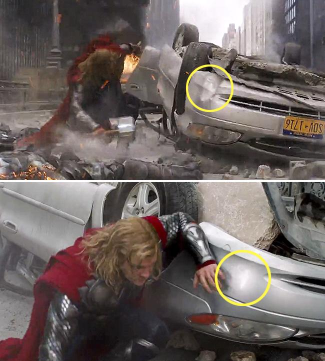 Error en una escena de la película Los Vengadores donde Thor destroza un carro