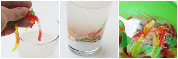 Imagen de un vaso con bicarbonato de sodio y gusanos de goma