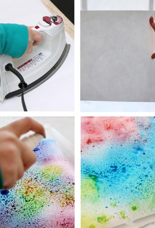 Procedimiento para agregar color y figuras al papel encerado