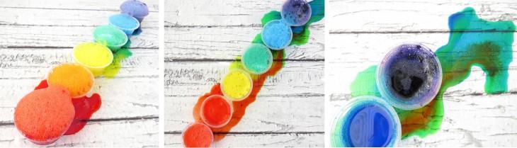Recipientes de plástico con volcanes de colores que explotan