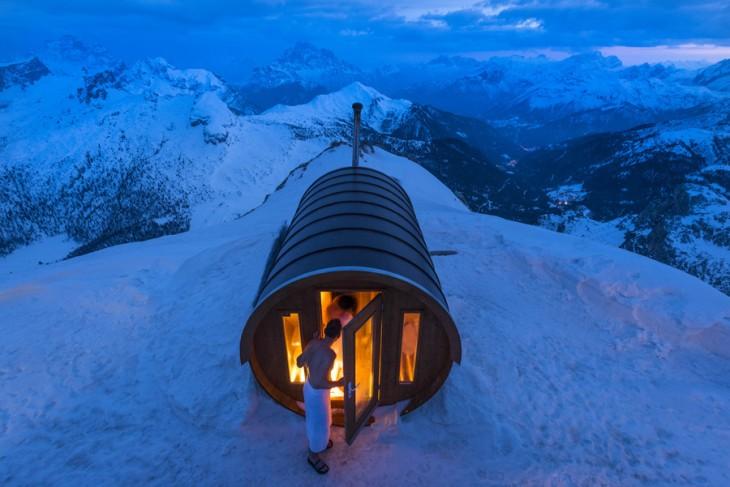 Mérito ganador a la fotografía Sauna en el cielo en National Geographic