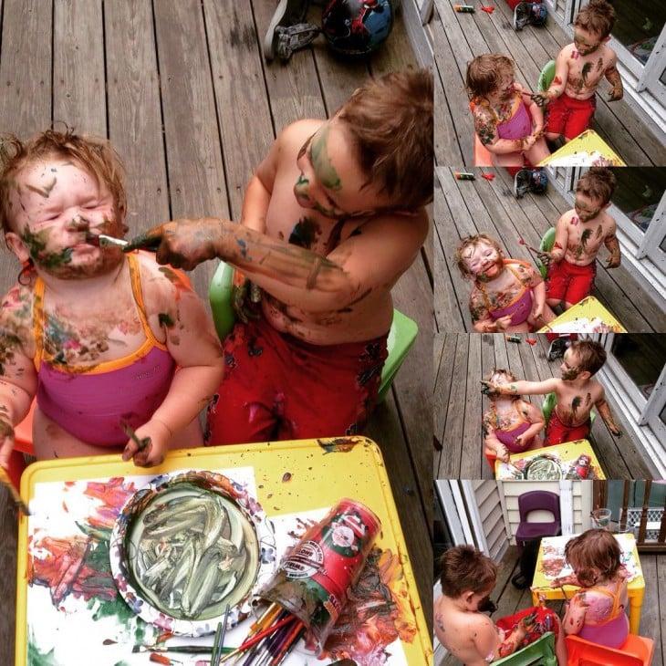 Fotografías de niños que pintándose la cara