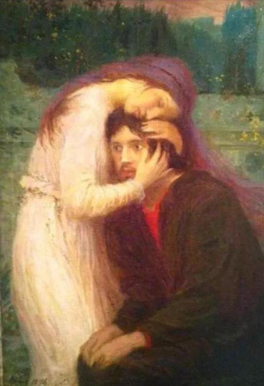 cuadro renacentista donde una mujer está abrazando a un hombre