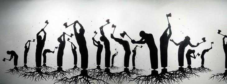 Dibujo de personas en forma de árboles talándose ellos mismos