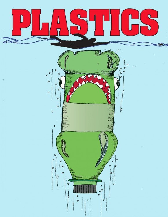 Botella de plástico en un mar debajo de una persona intentando comérsela