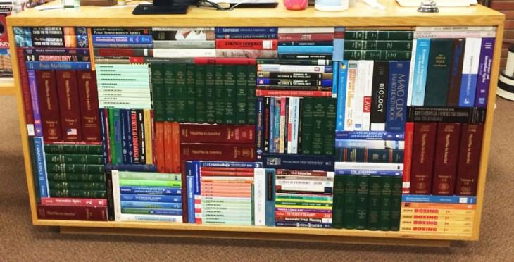 Libros acomodados en orden dentro de un mueble