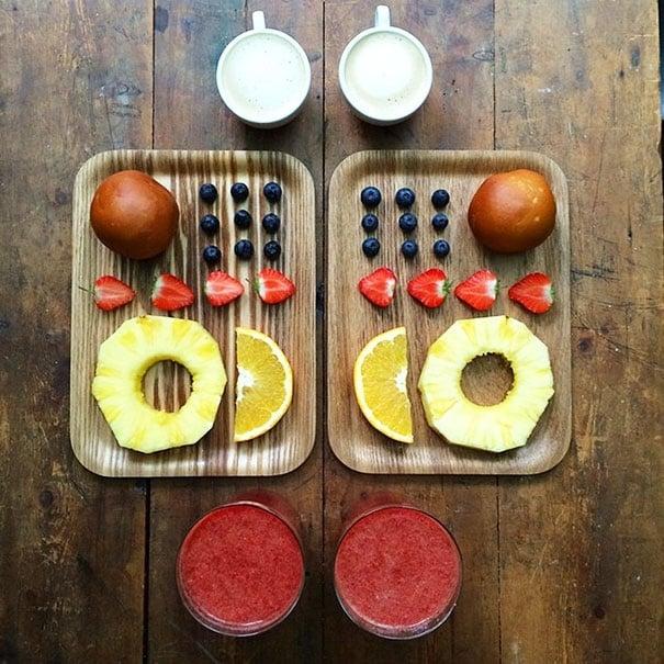 Platillo con frutas ordenadas
