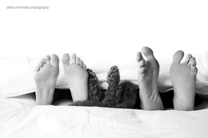 Imagen con pies de dos personas y en medio las patas de un perro