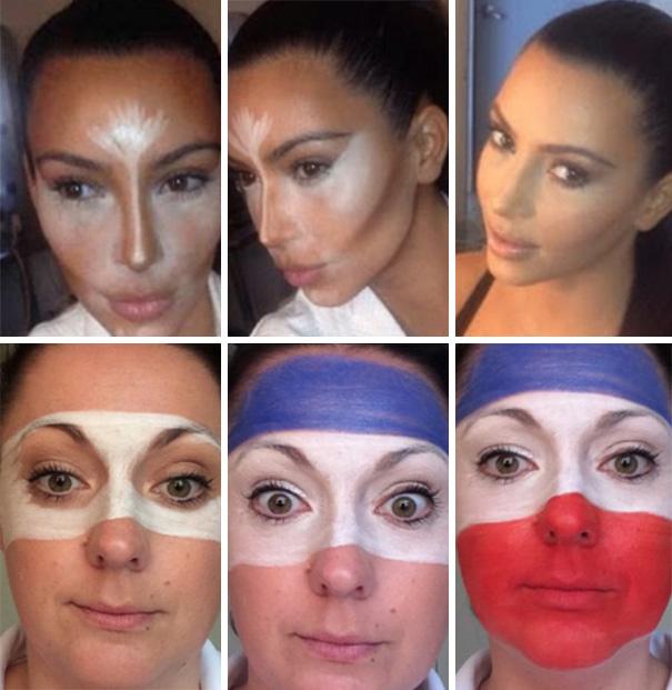 Fotografías de una mujer recreando el maquillaje de kim kardashian