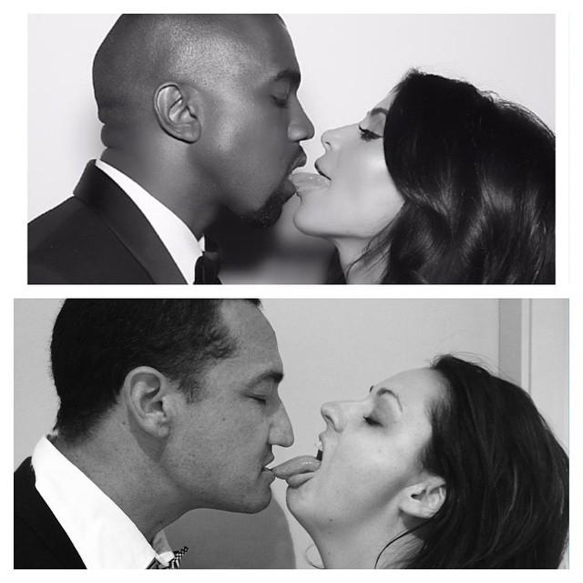 mujer recreando la foto de Kim Kardashian lamiendo los labios de un hombre