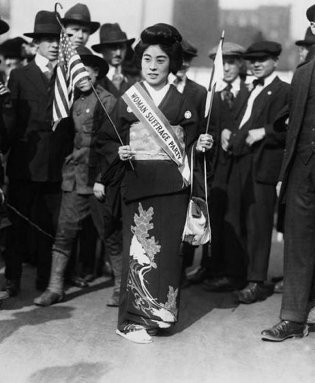 Komako Kimura mujer que marchó por el derecho al voto en Nueva York en 1917