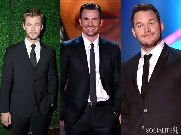 Chris Pratt, Chris Evans y Chris Hemsworth