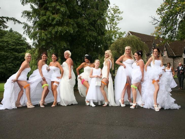 10 damas de honor con vestidos de novia para una boda gay