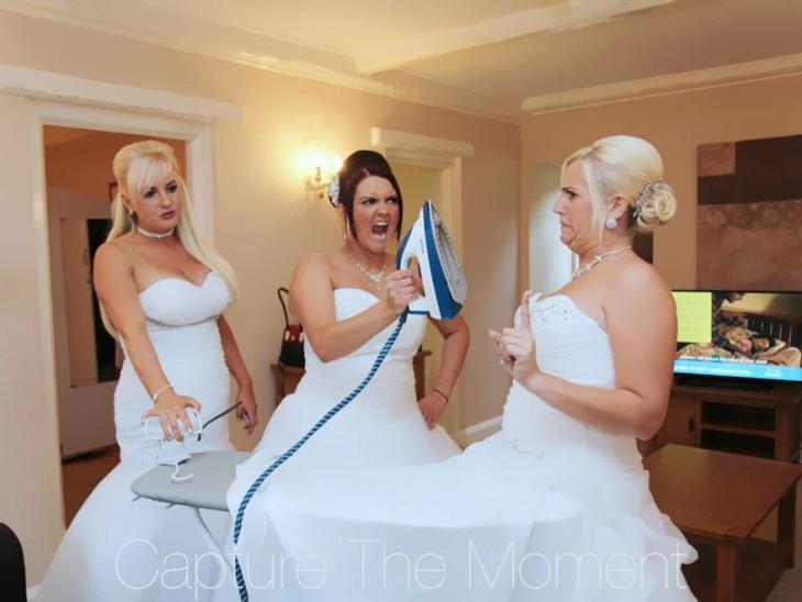 Damas de honor con vestidos de novia