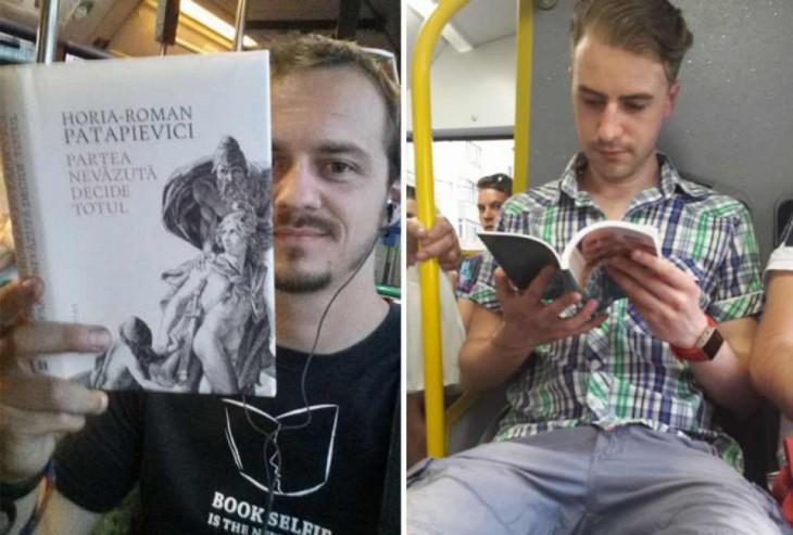Víctor Miron en el transporte público de Rumania con un libro en su mano
