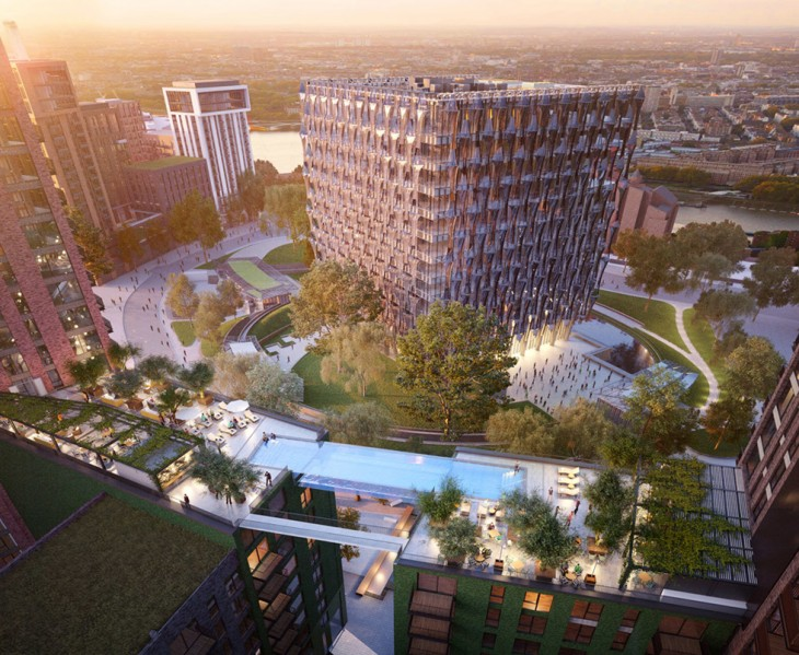 Vista de frente del proyecto de la piscina del cielo en Londres