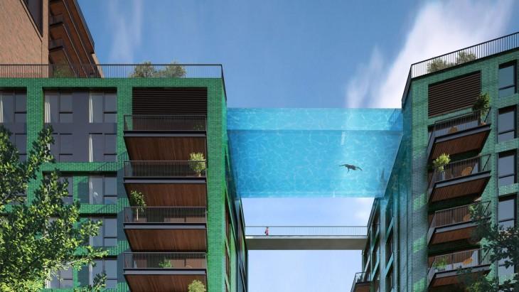 Diseño de la Piscina del cielo entre dos edificios de 10 pisos en Londres