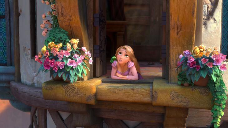 Rapunzel de la película Enredados en la ventana