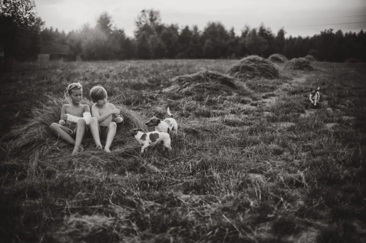 niños sentados sobre paja con dos perros cerca de ellos