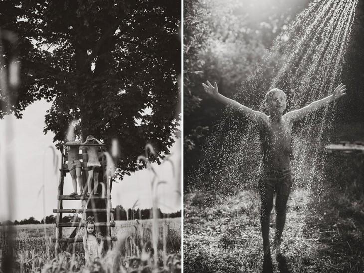 fotografía dividida en dos partes de un niño mojándose