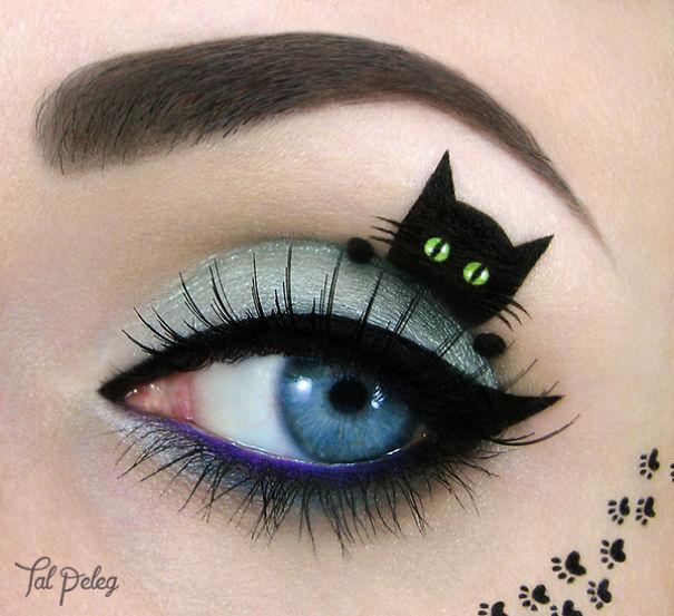 gato negro en el ojo