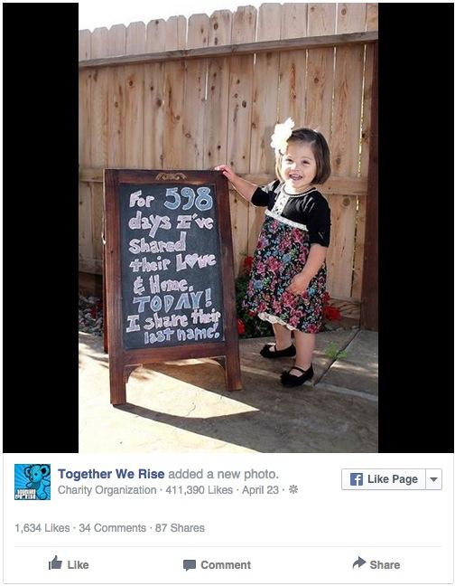 niña es adoptada despues de 598 dias