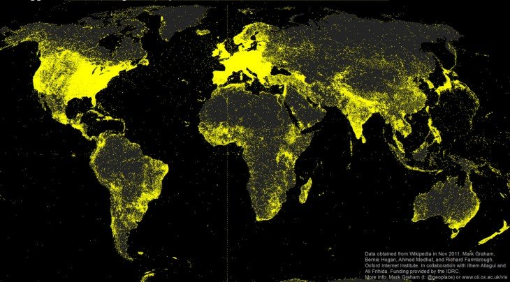 mapa de los lugares más buscados en wikipedia