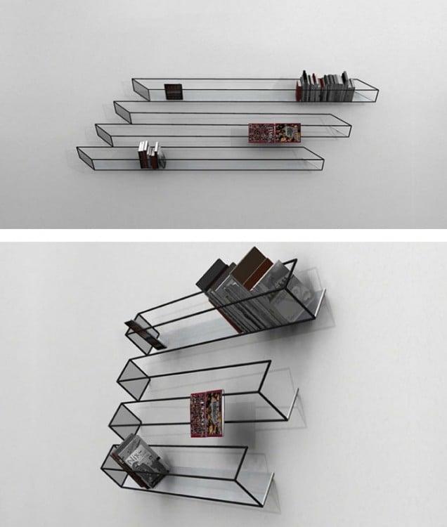 librero que simula una ilusion optica