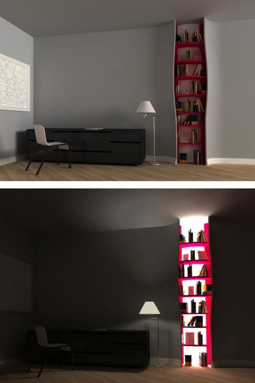 librero con iluminación