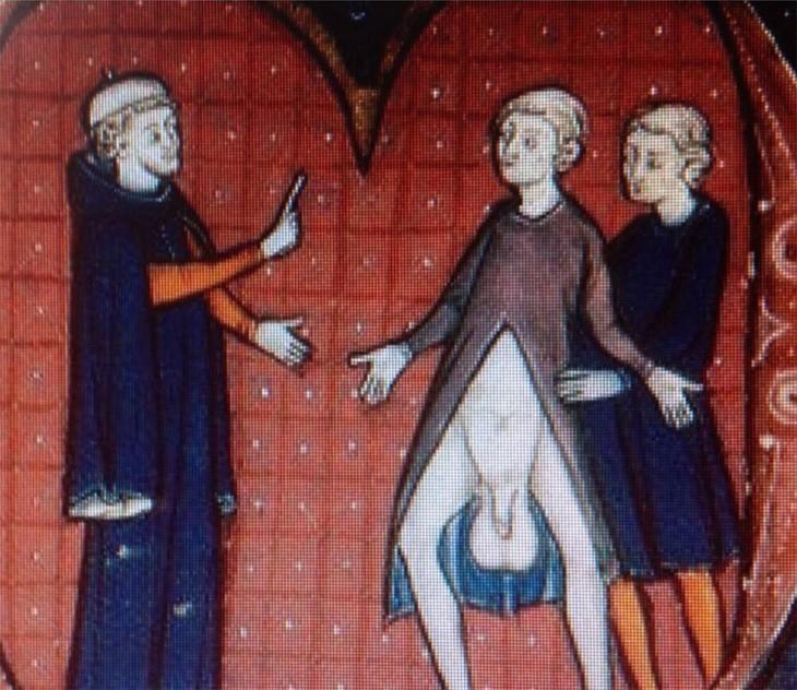imagenes con doble sentido en el arte medieval donde el hombre muestra los testiculos