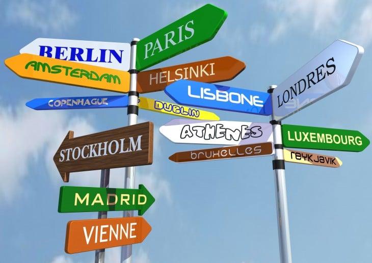 Direcciones de hacia diferentes paises europeos