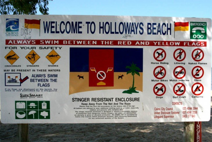 ADVERTENCIAS ANTES DE NTRAR A UNA PLAYA AUSTRALIANA