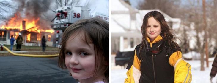Fotografía original del meme de la Girl Disaster junto a una fotografía actual de ella